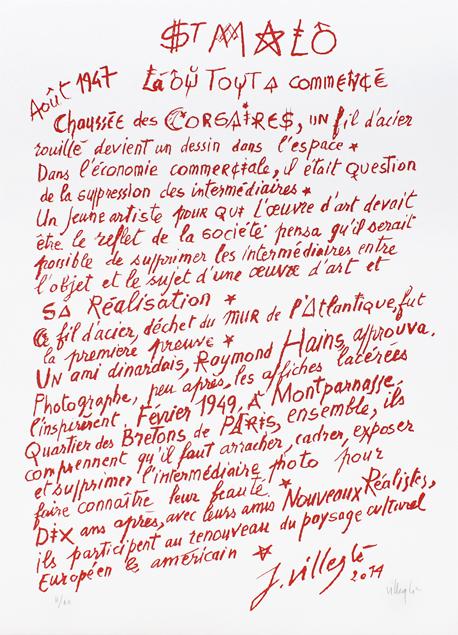 """Jacques Villeglé, lithographie """"Saint-Malo. La où tout à commencé..."""""""