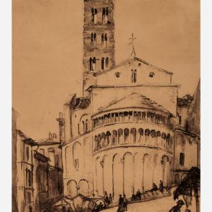 "Émile Bernard ""Arrezo. Devant l'église Santa Maria della Pieve"""