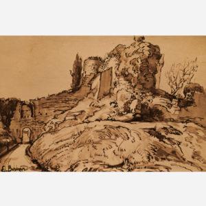 """Émile Bernard """"Le château des Français à Staggia. La porte nord-est"""""""""""