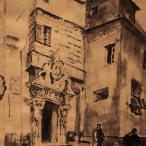 """Émile Bernard """"Gênes. Le porche aux cariatides"""""""