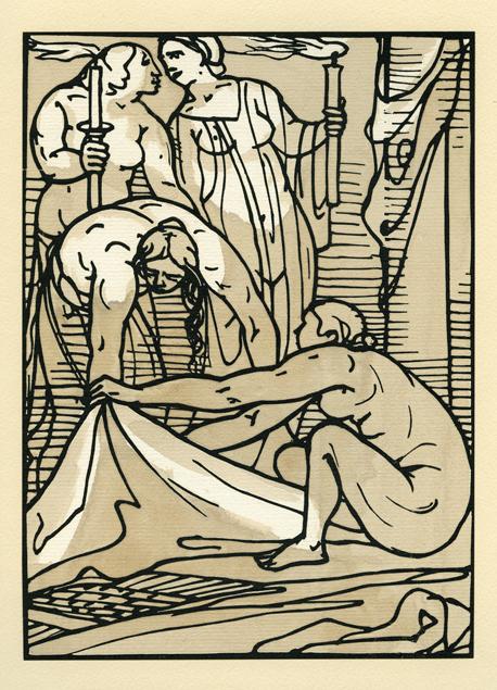 "Émile Bernard, bois gravé ""Odyssey 3"""