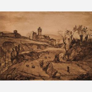 """Émile Bernard """"Paysage de campagne autour du château de Staggia"""""""