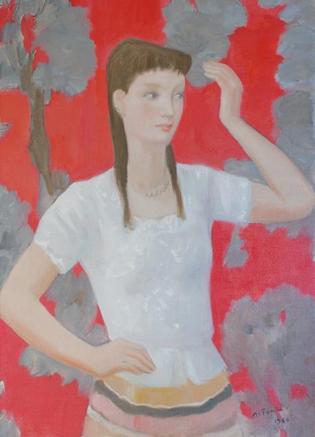 "André Tondu ""Jeune fille au fond rouge"""