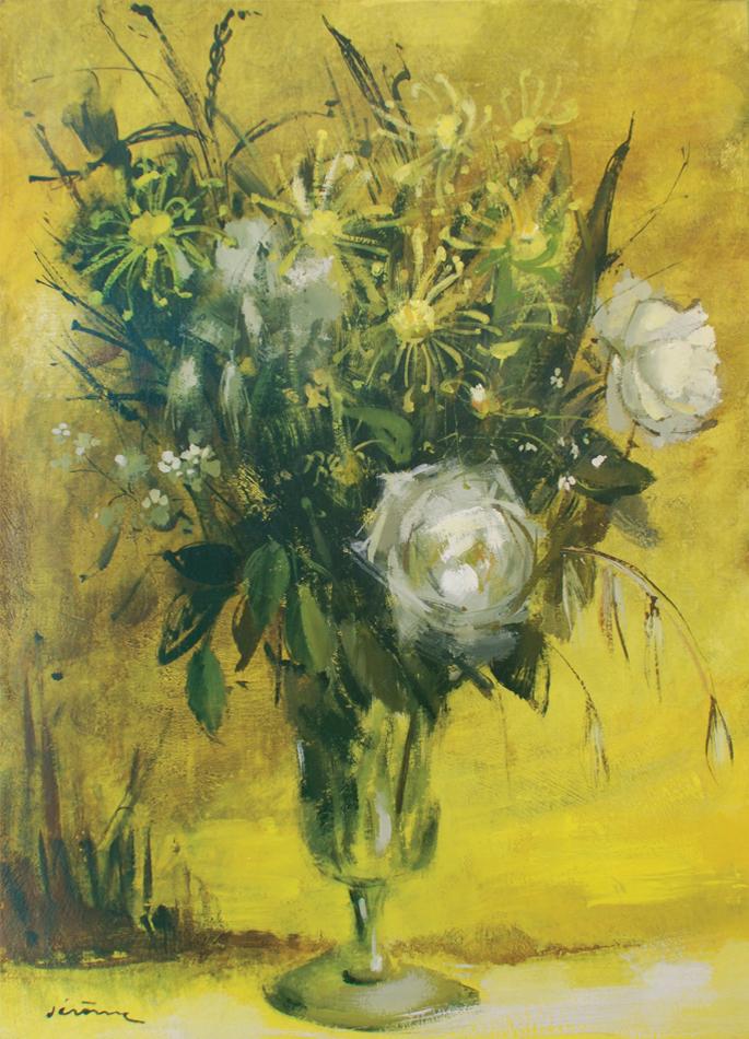 Pierre Jérôme, Roses sur fond jaune