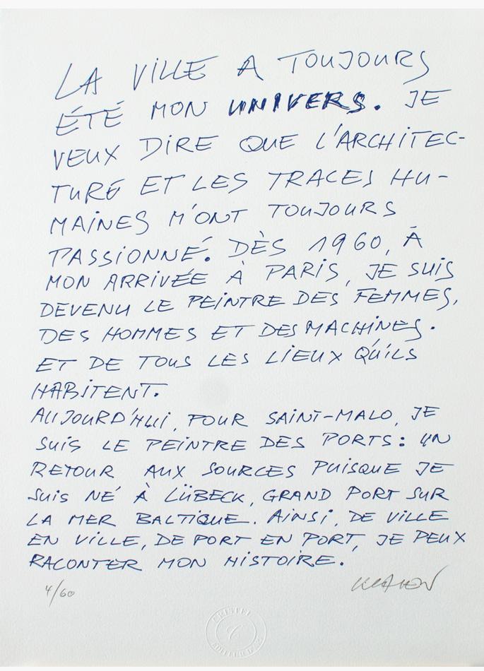 Peter Klasen Escale a Saint-Malo Texte