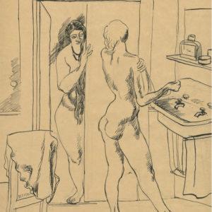 André Tondu Deux modèles au lavabo