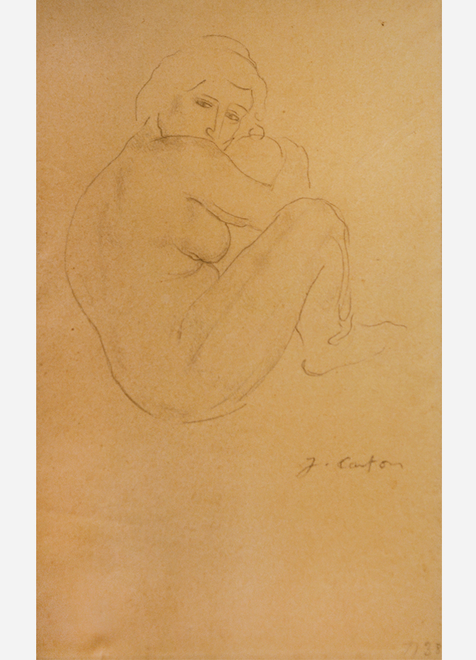 Jean Carton Femme assise