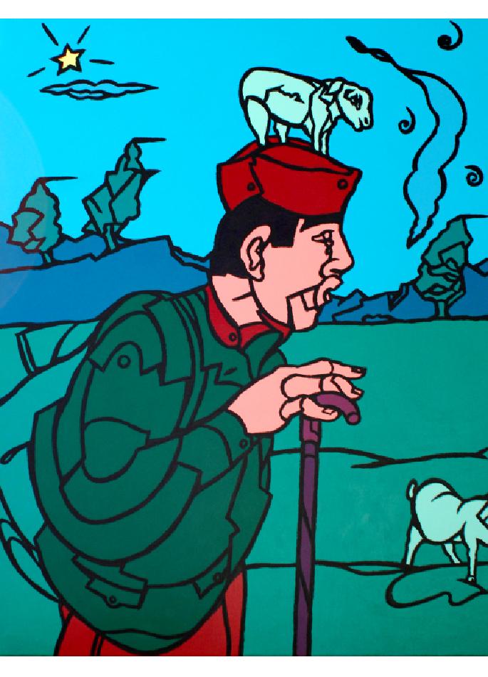 """Studio per """"L'ultimo pastore"""" par Valerio Adami"""