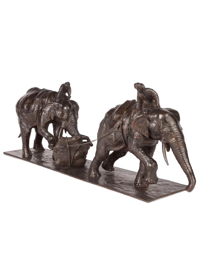 éléphants d'Asie au travail