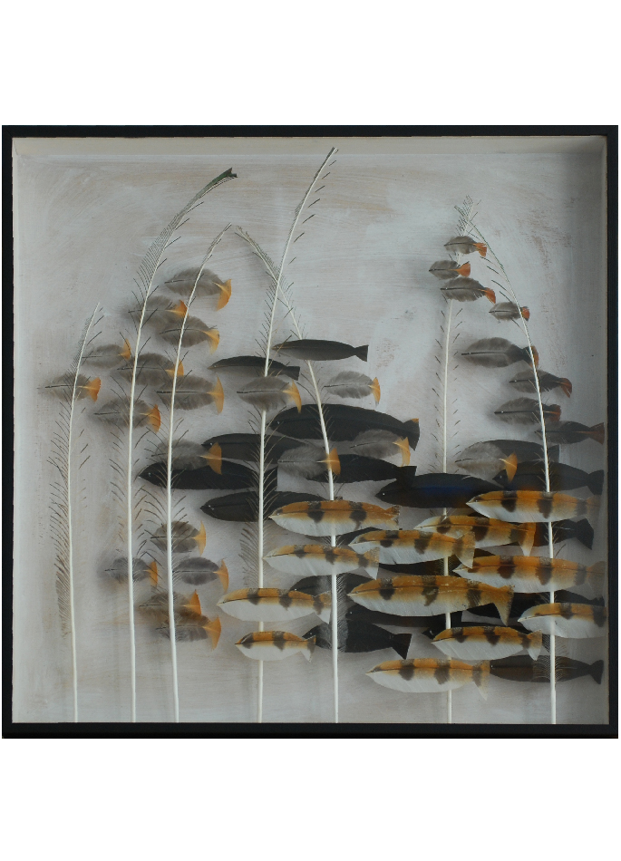 Anne Limbour œuvre poissons plumes Steppe aquatique