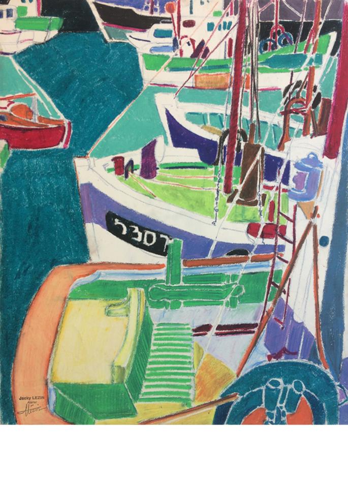 « Bateaux à quai » par Jacky Lézin