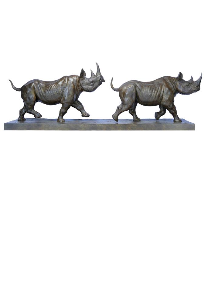 Damien Colcombet-Deux rhinocéros noirs au trot