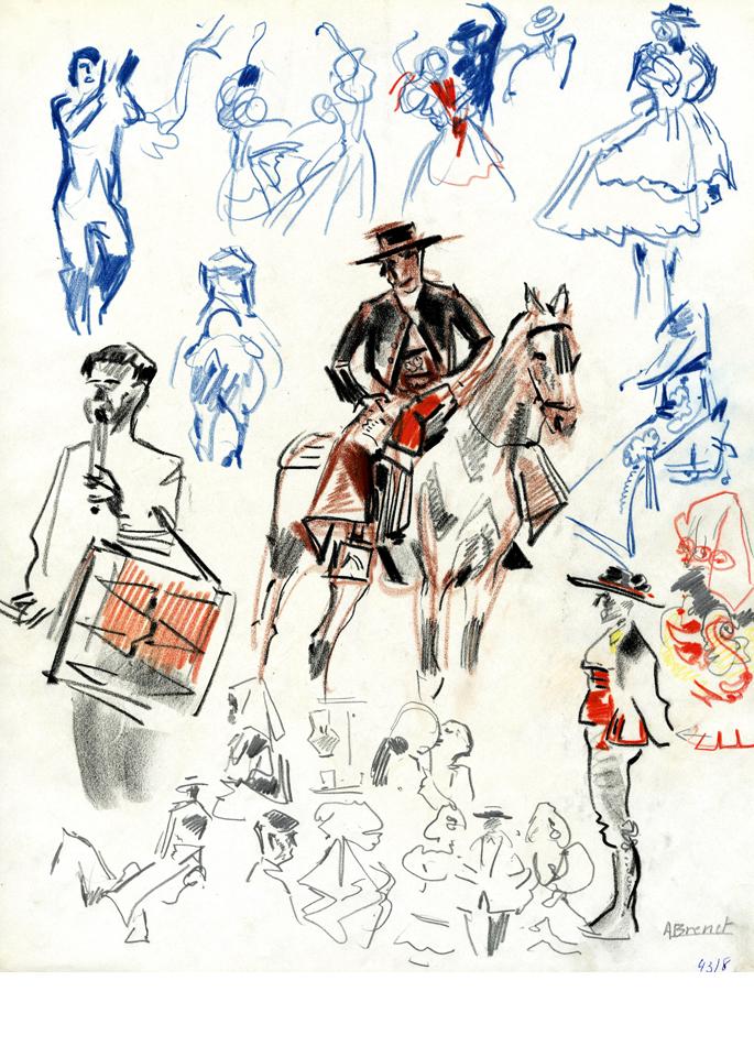 Albert Brenet dessin Espagne étude pour la Feria de Séville 1