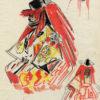 Albert Brenet dessin Japon. Figures de théâtre 1