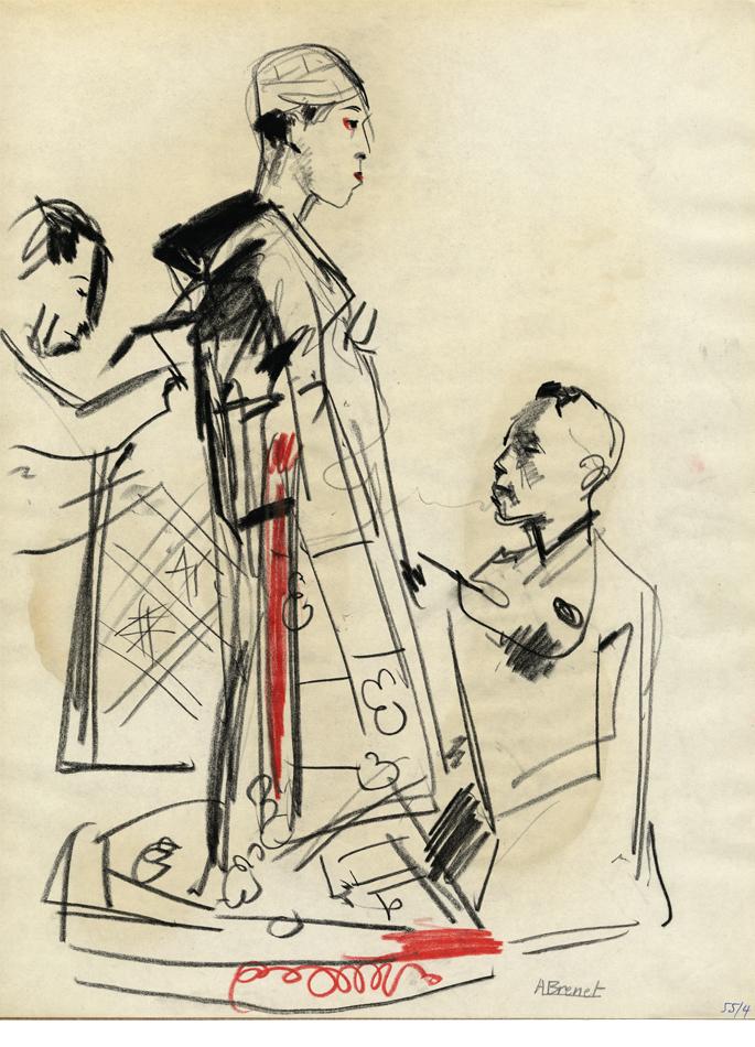 Albert Brenet dessin Japon. Figures de théâtre 2