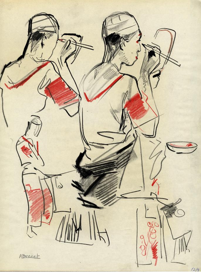Albert Brenet dessin Japon. Figures de théâtre 3