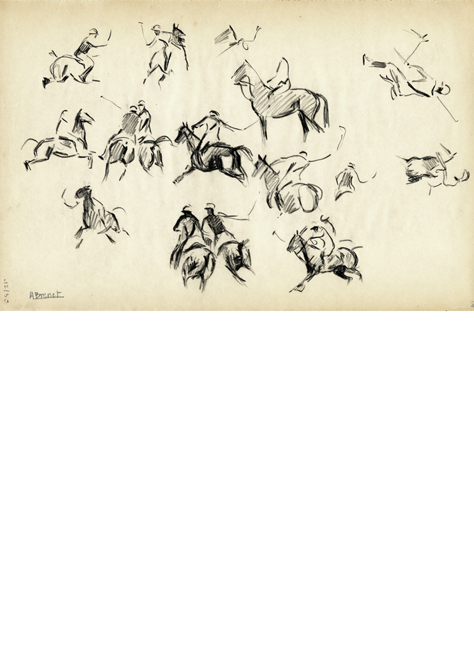 Albert Brenet dessin Le Polo. Étude