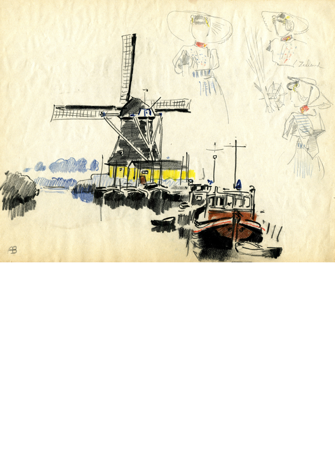 Albert Brenet dessin Pays-Bas au bord du canal