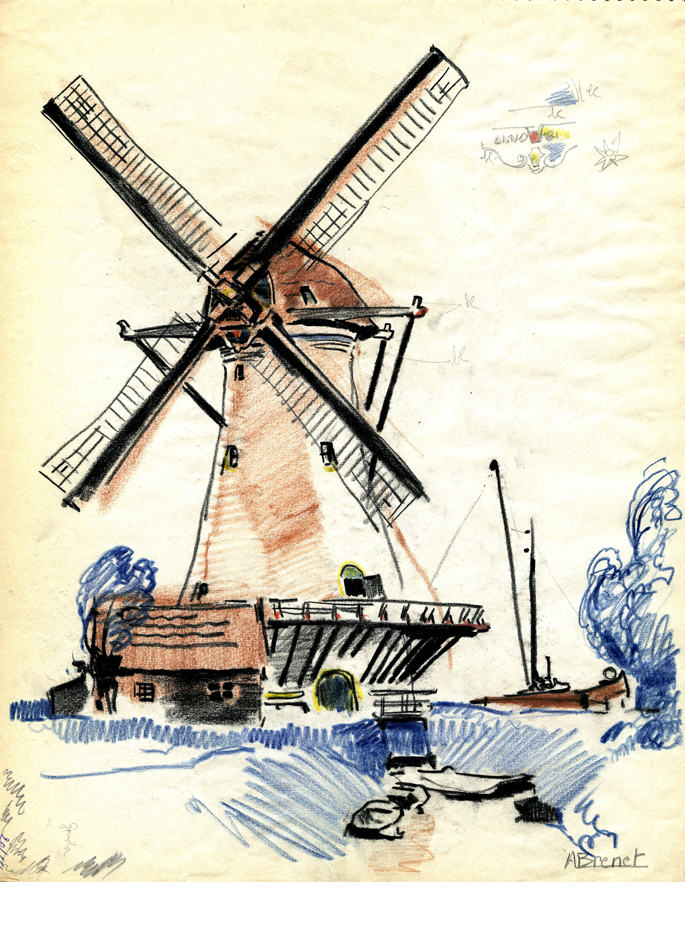Albert Brenet dessin Pays-Bas Le moulin