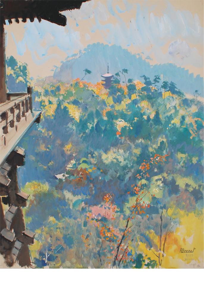 albert-brenet-gouache-japon-le-temple-de-kyo-mizu