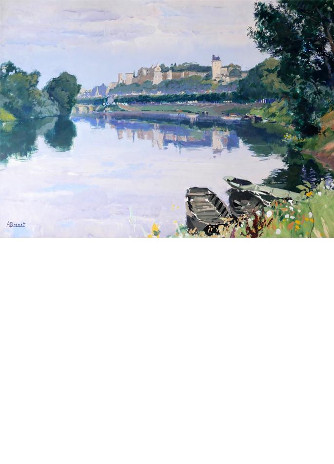 Albert Brenet gouache La Loire à Chinon
