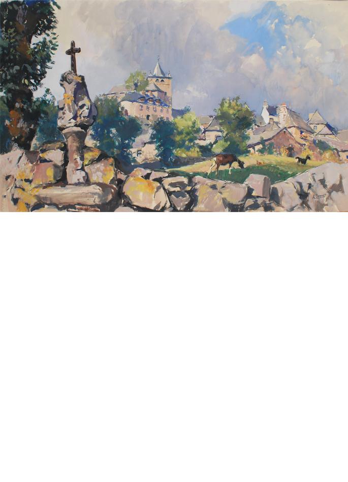 Albert Brenet gouache Paysage d'Aveyron