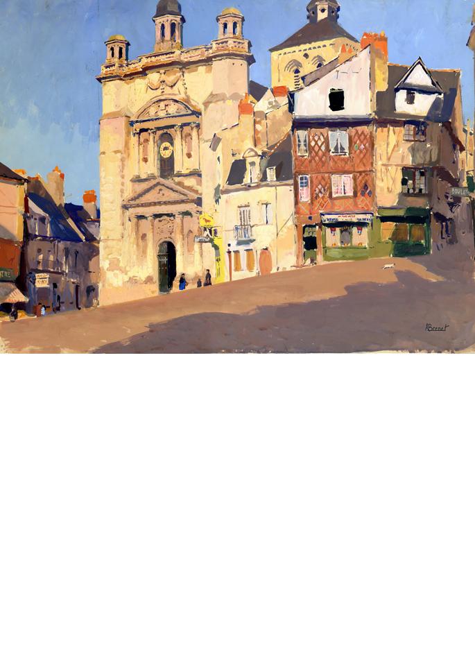 albert-brenet-gouache-saumur-place-saint-pierre