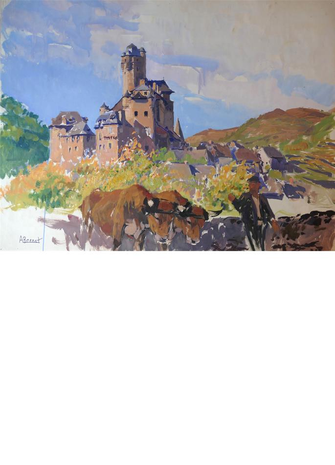 Albert Brenet gouache Village d'Estaing en Aveyron