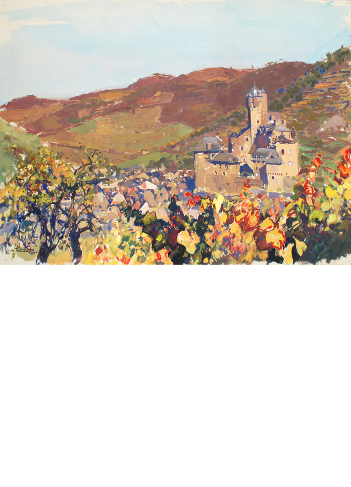 Albert Brenet gouache Village d'Estaing en Aveyron verso