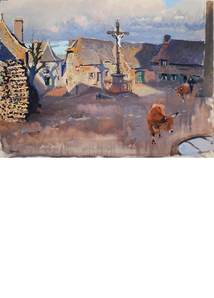Albert Brenet gouache Village en Aveyron