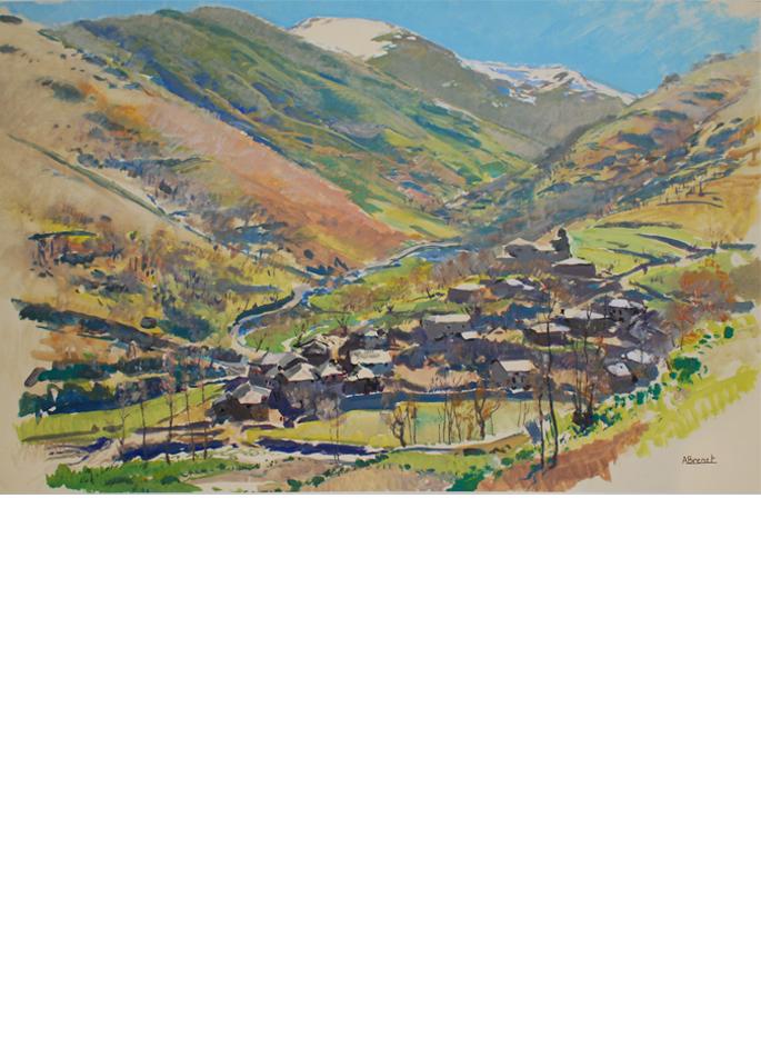 Albert Brenet gouache Les Pyrénées versant espagnol