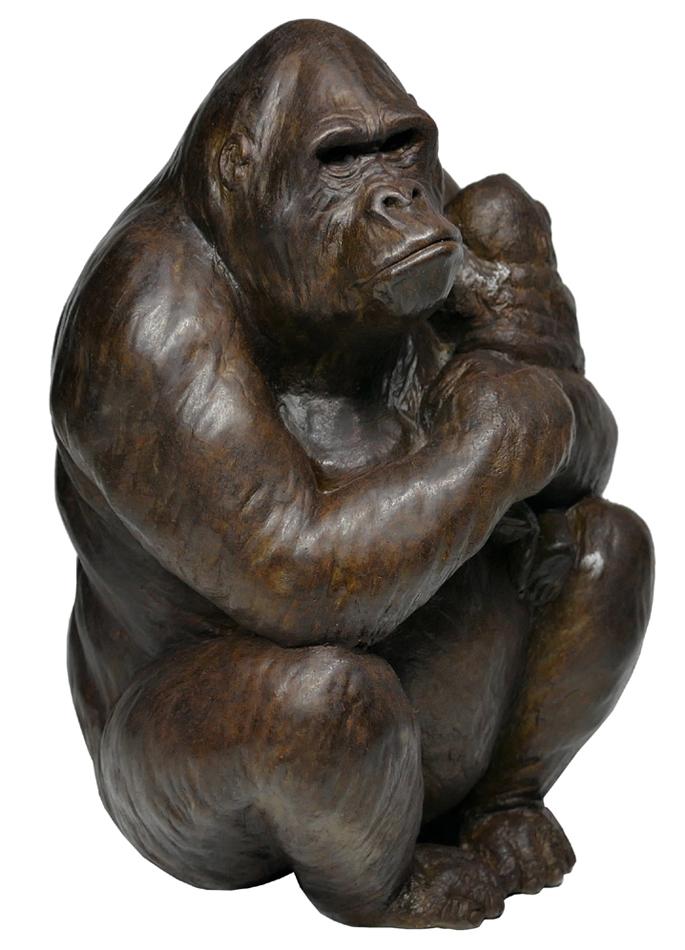 Damien Colcombet bronze Gorille femelle tenant son petit dans les bras