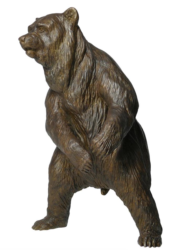Damien Colcombet bronze Standing Brown Bear