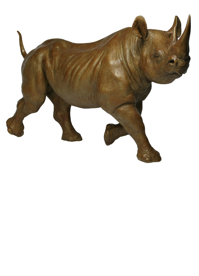 Damien Colcombet bronze Rhinocéros noir femelle au trot