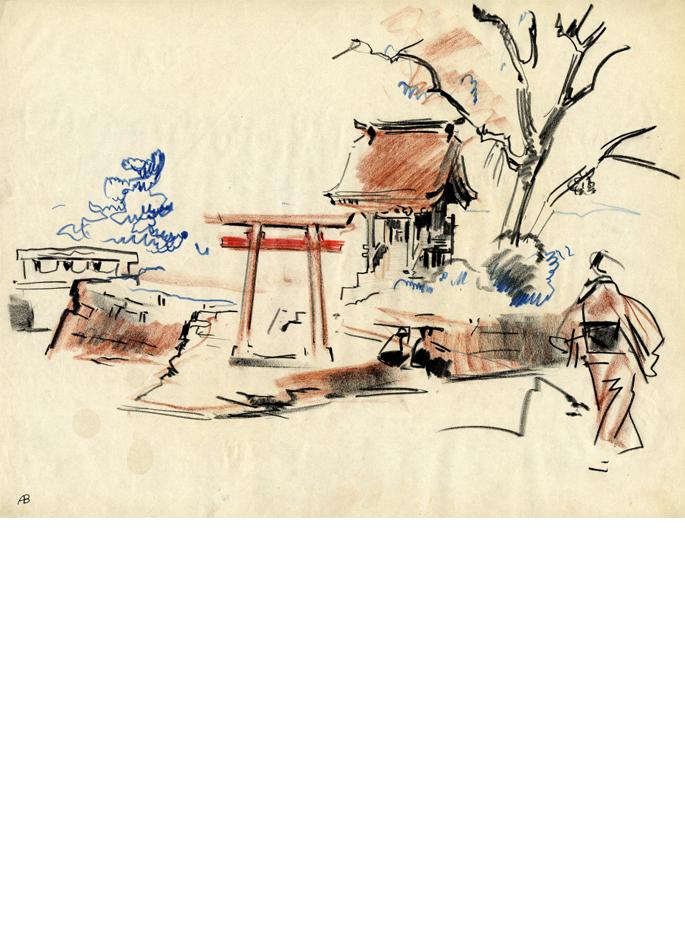 Albert Brenet dessin Japon silhouette