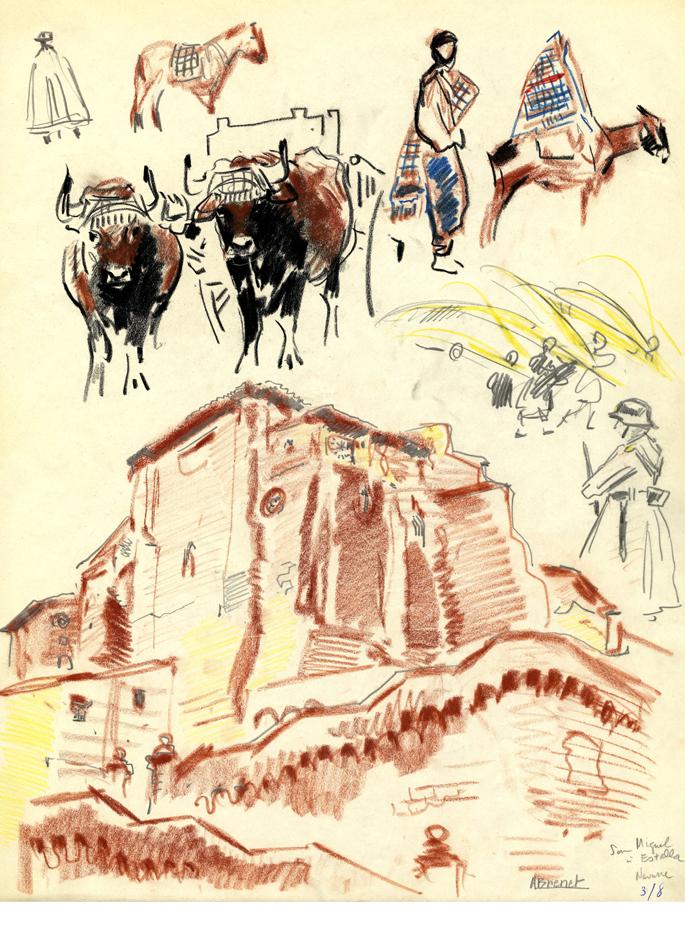 Albert Brenet dessin San Miguel à Estalla en Navarre (Espagne)