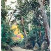 Albert Brenet gouache Allée des lanternes à Nara (Japon)