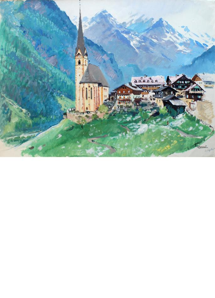 Albert Brenet gouache Le Tyrol Village d'Heiligenblut