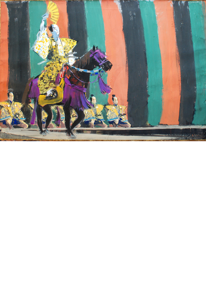 Albert Brenet gouache Scène de théâtre Kabuki trois acteurs à cheval