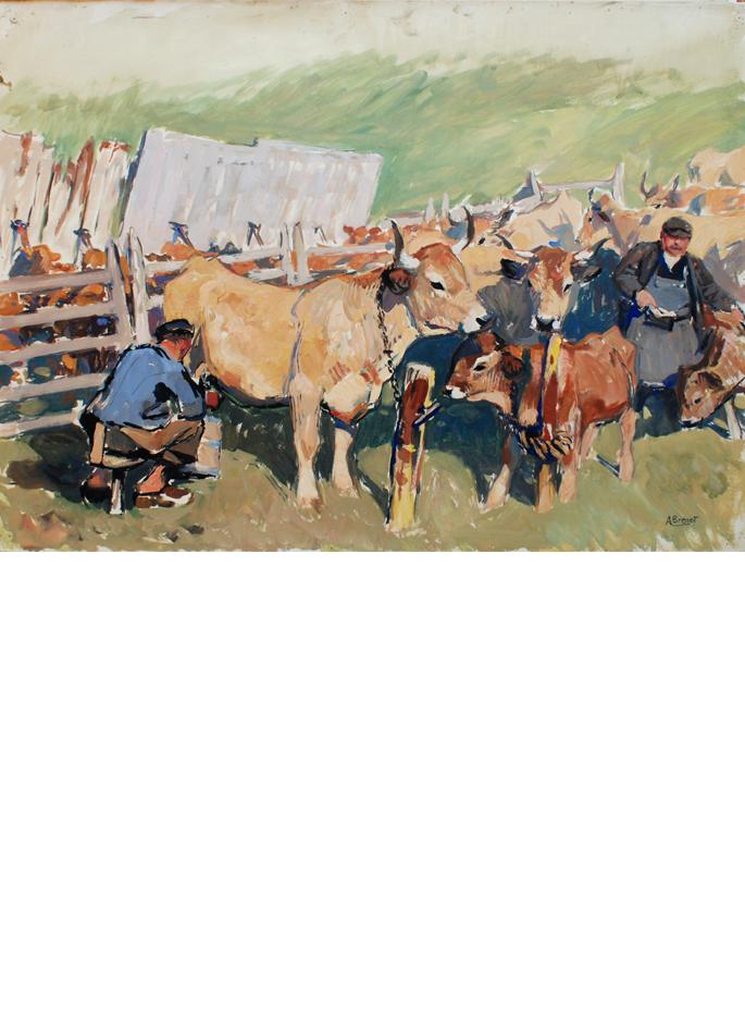 Albert Brenet gouache La Traite du troupeau dans l'Aubrac