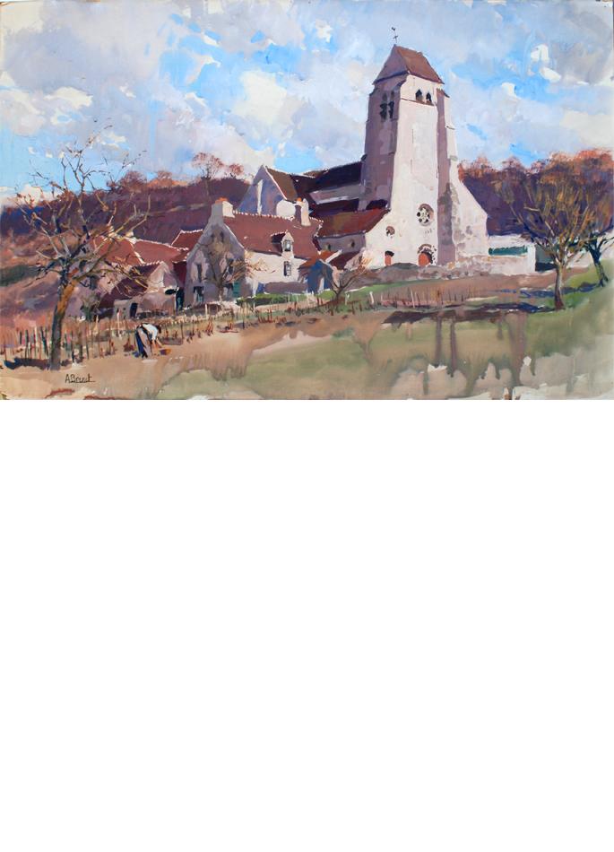 Albert Brenet gouache Village en Champagne