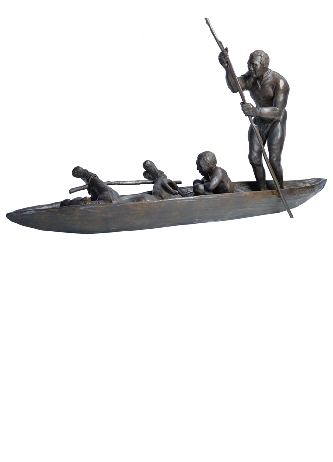 Damien Colcombet bronze La Pirogue