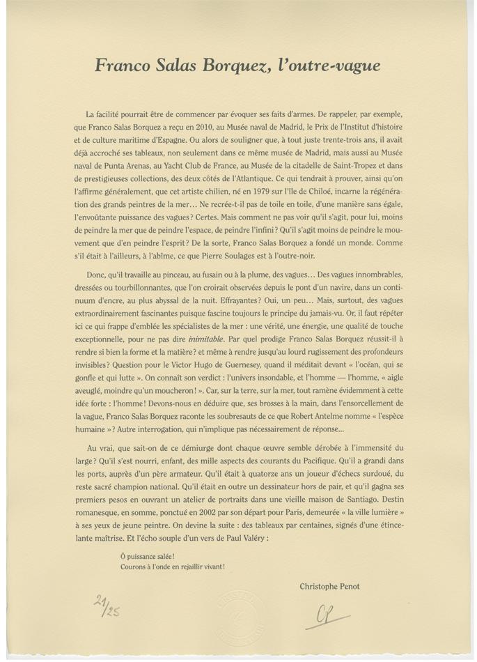 9e Prix Denis-Lalanne Roland-Garros Lithographie texte Christophe Penot