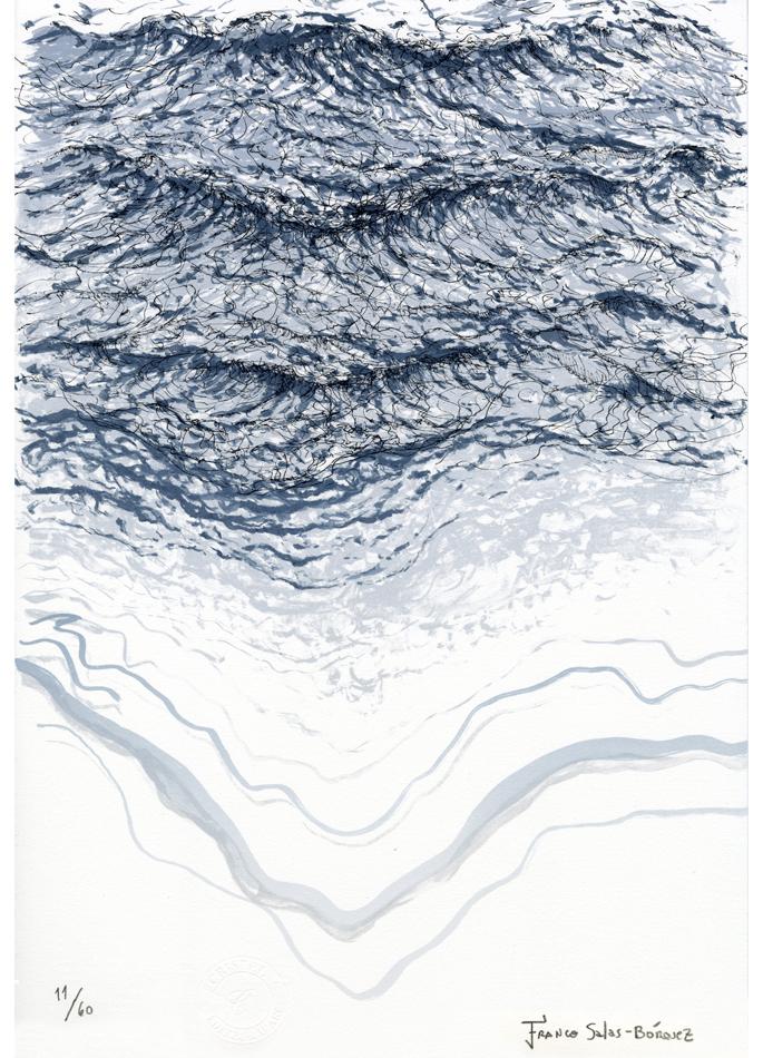 Franco Salas Borquez lithographie Saint-Malo L'outre-vague